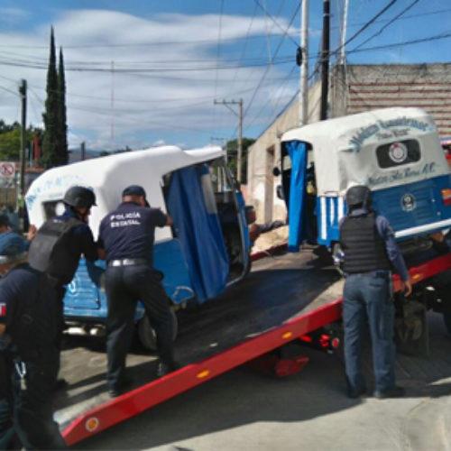 En operativo coordinado aseguran 16 mototaxis irregulares: SSPO