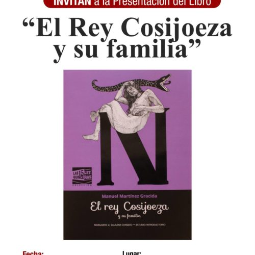 """LA DIRECCIÓN DE CULTURA DEL H. AYUNTAMIENTO VILLA DE ZAACHILA EN COORDINACIÓN CON EL INSTITUTO DE HUMANIDADES DE LA UABJO, INVITAN A LA PRESENTACIÓN DEL LIBRO """"EL REY COSIJOEZA Y SU FAMILIA"""" EL DÍA 20 DE ENERO A LAS 18 HRS."""