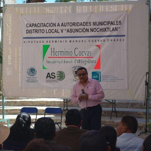 SE LLEVÓ ACABO LA CAPACITACIÓN A AUTORIDADES MUNICIPALES DEL DISTRITO LOCAL V NOCHISTLAN, OAXACA, DIPUTADO HERMINIO MANUEL CUEVAS CHÁVEZ