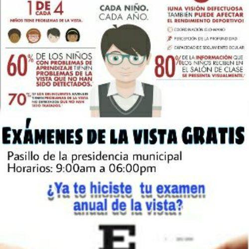 ¡¡¡ EXÁMENES GRATIS DE LA VISTA !!! EN EL MUNICIPIO DE CHALCATONGO DE HIDALGO