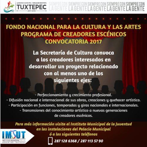 CONVOCATORIA 2017, FONDO NACIONAL PARA LA CULTURA Y LAS ARTES, MUNICIPIO DE SAN JUAN BAUTISTA TUXTEPEC
