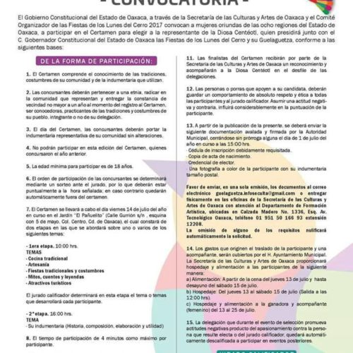 """EL H. AYUNTAMIENTO DE OCOTLÁN DE MORELOS TE OFRECE UNA OPORTUNIDAD PARA SER PARTE DE LA MÁXIMA FIESTA DE LAS Y LOS OAXAQUEÑOS, PARTICIPA EN EL CERTAMEN PARA ELEGIR A LA REPRESENTANTE DE LA DIOSA """"CENTÉOTL"""""""